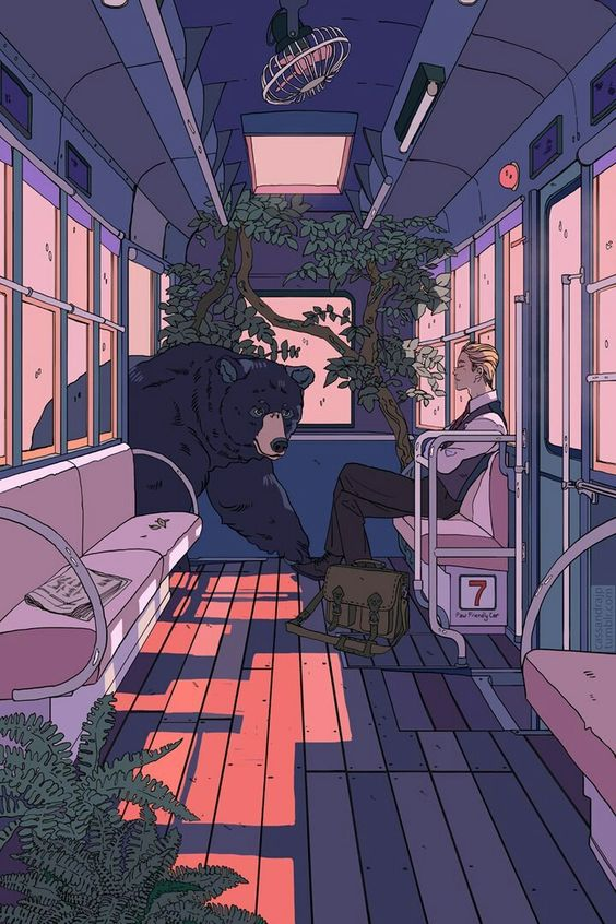 bear in the train